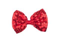 与亮晶晶的小东西的红色蝶形领结在白色背景 免版税图库摄影