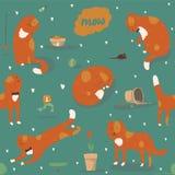 与亲切的质朴的姜猫的无缝的样式,乐趣,时髦 导航与猫辅助部件的例证-食物,玩具,打破的花 免版税库存图片