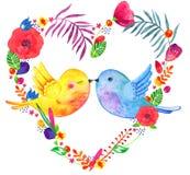 与亲吻的鸟夫妇的心形花卉框架 与装饰剪影植物和花的水彩手拉的例证 库存例证
