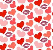 与亲吻和心脏的无缝的样式 向量例证