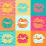 与亲吻的五颜六色的纹理 流行艺术嘴唇 库存图片