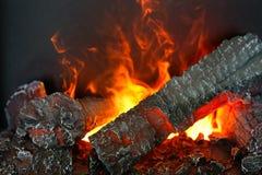 与人为木柴和火焰effec的美好的电热炉 库存图片