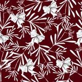 与人俏丽的花的无缝的样式在红色 免版税库存图片