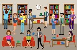 与人和书架的图书馆内部 教育 免版税图库摄影