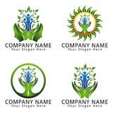 与人和叶子的心理学商标自然概念 免版税库存照片