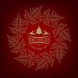 与人字形和鹿的圣诞节红色设计 免版税图库摄影