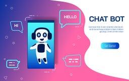 与人工智能的支持聪明的服务 网站或流动应用真正协助  聊天马胃蝇蛆AI概念 皇族释放例证