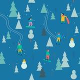 与人滑雪的滑雪的无缝的样式和雪板运动在传染媒介的雪森林里 库存例证