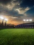 与人爱好者的体育场日落 3d使例证多云 免版税图库摄影