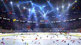 与人爱好者的曲棍球法院 竞技场雨体育运动体育场 准备开始冠军 3d回报 移动的光whith五彩纸屑 股票视频
