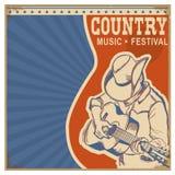 与人的乡村音乐背景减速火箭的海报的牛仔帽的 免版税库存照片