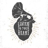 与人的心脏和留声机垫铁的浪漫海报 库存例证
