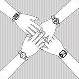 与人的手设计,传染媒介例证的配合 库存图片