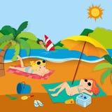 与人的暑假海滩的 皇族释放例证