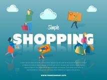 与人的简单的购物横幅 免版税库存照片