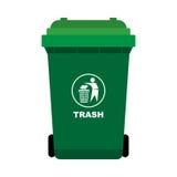 与人的绿色垃圾把捶打象扔出去 免版税库存照片