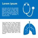与人的肺和听诊器的图象的医疗模板设计 库存照片
