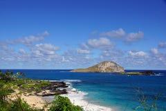 与人的Makapuu海滩在水中和兔子和岩石Isla 免版税库存照片