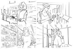 与人购物的故事画板在杂货 免版税库存照片