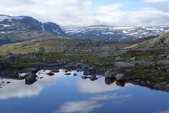 与仍然反射水的积雪的山风景 免版税库存图片