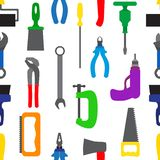 与仪器和工具的无缝的样式 库存例证