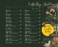 与价格表和图片的咖啡店菜单 库存图片