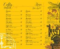 与价格表和图片的咖啡店菜单 库存照片
