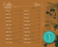 与价格表和图片的咖啡店菜单 免版税图库摄影