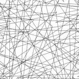 与任意混乱线的不对称的纹理,抽象几何样式 黑白传染媒介例证  免版税库存照片