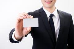 与企业名称卡片的商人,与我们联系概念 免版税库存照片