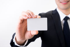 与企业名称卡片的商人,与我们联系概念 库存图片