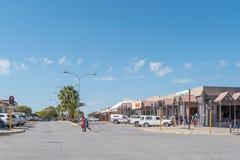 与企业的街道场面和车在赫鲁特方丹 库存图片