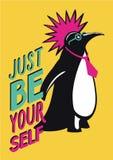 与企鹅废物的流行艺术海报 动画片猫计算机幽默例证位于的人表工作 向量例证