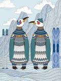 与企鹅的成人着色页 免版税库存照片