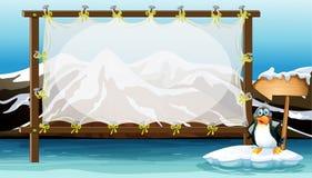 与企鹅的框架设计在冰山 向量例证