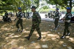 与伊斯兰教国家外部危机战斗的印度尼西亚军事 免版税库存图片