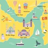 与伊斯坦布尔著名目的地和地标的旅游地图  向量例证