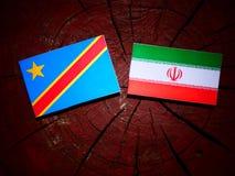 与伊朗旗子的刚果民主共和国旗子在tre 图库摄影