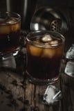 与伏特加酒和咖啡酒的黑俄国鸡尾酒 免版税库存照片