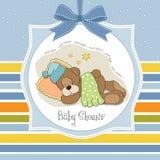 与休眠玩具熊的婴儿送礼会看板卡 库存照片