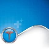 与众神使者的手杖医疗标志的抽象医疗背景 库存图片
