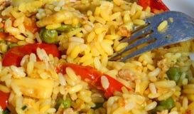 与优秀米valenciana和肉菜饭的叉子 免版税库存图片