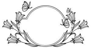 与会开蓝色钟形花的草和蝴蝶的典雅的圆的框架 库存照片