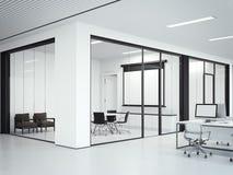 与会议室的清楚的办公室内部 3d翻译 库存图片