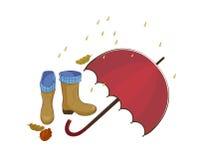 与伞和雨,叶子,伞,水池,胶靴的秋天例证 在一个灰色背景样式的传染媒介 免版税库存图片