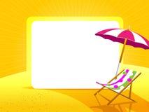 与伞的在黄色背景的贺卡和椅子 库存图片