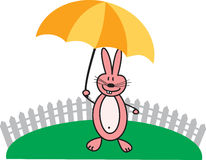 与伞的桃红色兔子 图库摄影