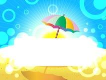 与伞的海风景 免版税库存照片