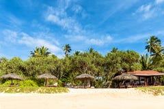 与伞的离开的热带海滩 库存照片