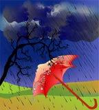 与伞的秋天印象 免版税图库摄影